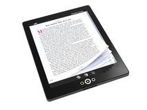 E-books on the tablet PC. Reading E-books on the tablet PC- concept image stock illustration