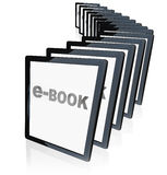 E-Books Tablet Readers New Technology. A line-up of tablet computers representing the growing popularity of e-readers, e-books and other new technological Stock Photography