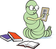 E-Bookworm. Former bookworm who has become an e-bookworm stock illustration