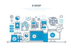 E-boutique Système de commande en ligne des produits, paiement sûr, support technique illustration stock