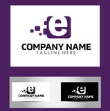 E Brief Logo Design Vector Business Card Royalty-vrije Stock Foto's