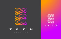 E Brief Logo Technology Verbonden Dots Letter Design Vector Stock Foto's