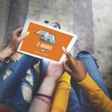 E-Buch-E-Leser-Medien-Literatur-Innovations-Technologie-Konzept stockfoto