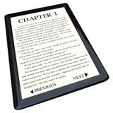 E-Buch Leser mit Roman auf Bildschirm Lizenzfreies Stockfoto