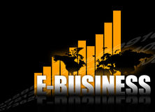 E-Business. Abstract background with worldmap and E-BUSINESS type Stock Images