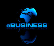 E-Business. Abstract shiny globe on black background with eBUSINESS type in front Stock Photography