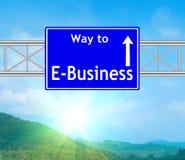E-Business-blaues Verkehrsschild Stockfoto