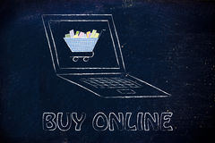 E-business and buying online: computer and shopping cart Royalty Free Stock Photography