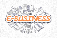 E-Business - Cartoon Orange Text. Business Concept. Royalty Free Stock Image