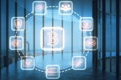 E-business concept. Abstract bitcoin projection in blurry office interior with panoramic city view and daylight. E-business concept. Double exposure Royalty Free Stock Photos