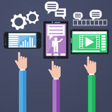 E-Business concept, computers, smartphone Stock Image
