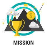 E-Business Concept Mission Sign Design With Cloud, Mountain, Gold Coin And TrophyOnline Sales Shop Vector Design Royalty Free Stock Photography