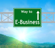 E-Business Green Road Sign Stock Image