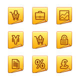 E-business icons. Vector web icons, gold sticker series, V2 Royalty Free Stock Image