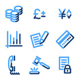 E-business icons. Vector web icons, blue contour series Royalty Free Stock Photo