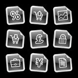E-business icons, black sticker. Vector web icons, black glossy sticker series, V2 Royalty Free Stock Image