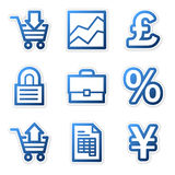 E-business icons, blue contour Royalty Free Stock Photos