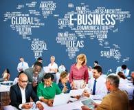 E-Business-Ideen-Analyse-Kommunikations-Lösungs-sozial-Konzept Lizenzfreie Stockfotos