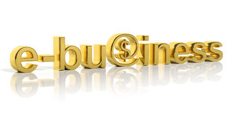 E-Business-Text des Gold 3D Stockbild