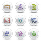 E-business web colour icons, white circle buttons. Vector web colour icons, white circle buttons series Royalty Free Stock Images