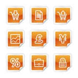 E-business web icons. Vector web icons, orange glossy sticker series, V2 Stock Image