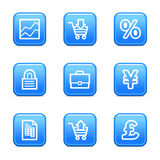 E-business web icons. Vector web icons, blue glossy buttons series, V2 Stock Image