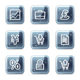 E-business web icons. Vector web icons, blue glossy mineral square buttons series Stock Photos