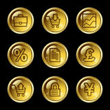 E-business web icons. Vector web icons, gold glossy circle buttons series Royalty Free Stock Photos