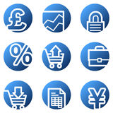 E-business web icons. Vector web icons, blue circle series Royalty Free Stock Image