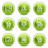E-business web icons. Vector web icons, green glossy circle buttons series Stock Photo