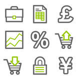 E-business web icons. Vector web icons, green and gray contour series Stock Images