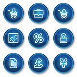 E-business web icons, blue circle buttons. Vector web icons set. Easy to edit, scale and colorize Royalty Free Stock Photos