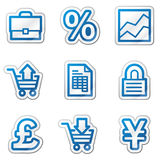 E-business web icons, blue contour sticker series. Vector web icons. Easy to edit, scale and colorize Stock Photography