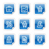 E-business web icons, blue glossy sticker series. Vector web icons, blue glossy sticker series Royalty Free Stock Image