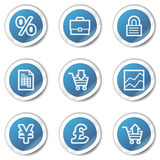 E-business web icons, blue sticker series. Vector web icons set. Easy to edit, scale and colorize Royalty Free Stock Images