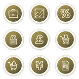 E-business web icons,  brown circle buttons series. Vector web icons set, brown circle buttons. Easy to edit, scale and colorize Royalty Free Stock Images