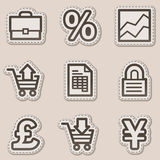 E-business web icons, brown contour sticker series. Vector web icons set. Easy to edit, scale and colorize Stock Photo