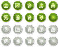 E-business web icons, circle buttons. Vector web icons set. Easy to edit, scale and colorize Stock Image