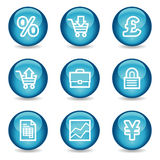 E-business web icons, glossy sphere series. Vector web icons, blue glossy sphere series Stock Images