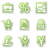 E-business web icons, green contour sticker series Royalty Free Stock Photo