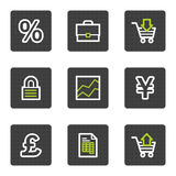 E-business web icons, grey square buttons series. Vector web icons set. Easy to edit, scale and colorize Stock Photos