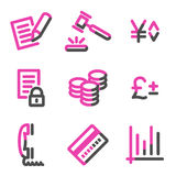 E-business web icons, pink contour series Royalty Free Stock Image