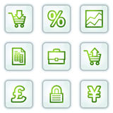 E-business web icons, white square buttons series. Vector web icons set. Easy to edit, scale and colorize Royalty Free Stock Photography