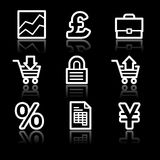 E-business white contour web icons. Vector web icons, white contour series Royalty Free Stock Image