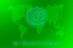 E-businessweltkarte auf einem Grünhintergrund des binären Codes Lizenzfreies Stockbild