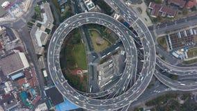 E C?rculo de tr?fego Shanghai, China Vista invertido vertical a?rea video estoque