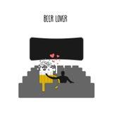 E Caneca de cerveja no cinema Lugares para beijos em las Imagem de Stock Royalty Free