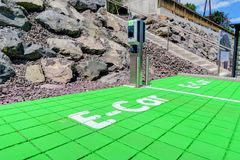 E-Car Recharging Station. An e-car recharging spot for ecological auto transport Stock Photography