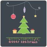 E-carta allegra di Chrstmas di progettazione piana di Minimalistic con l'albero di Natale Immagini Stock Libere da Diritti