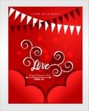 E Carta de amor dourada elegante com corações de suspensão ilustração royalty free